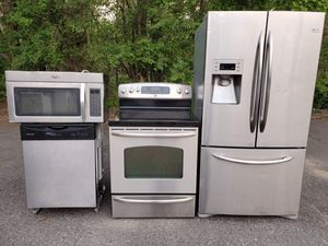 Stainless steel appliances set fridge electric stove dishwasher microwave all good working conditions $999 for Sale in Denver, CO