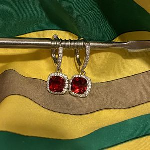 Silver Earrings - Red Stone for Sale in Houston, TX
