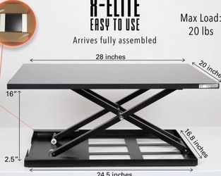 Standing Desk - X-Elite Pro Height Adjustable Desk Converter - Size 28in x 20in Instantly Convert any Desk to a Sit / Stand up Desk (Black) for Sale in La Habra,  CA
