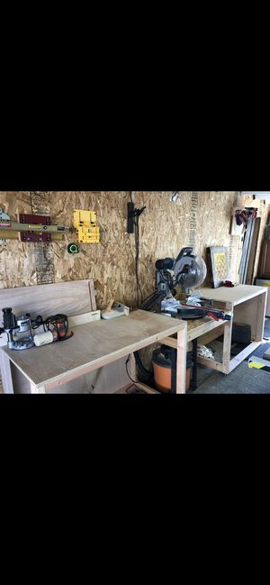 Miter saw station custom made with kreg jig track and stop kit for Sale in Puyallup, WA