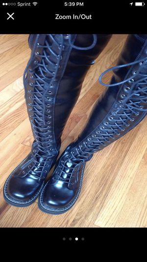 Demonia black leather thigh high boots for Sale in Crofton, MD