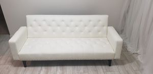 """Modern Tufted Bonded Leather Sleeper Futon Sofa with Nailhead Trim in White"" very lightly used. for Sale in Houston, TX"
