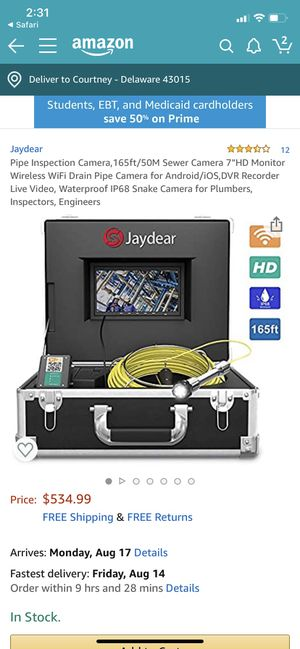 Jaydear pipe inspection camera for Sale in Delaware, OH