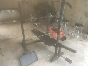 Bench press with bar and weights. Tricep/Bicep. Quads/Hams for Sale in St. Charles, IL