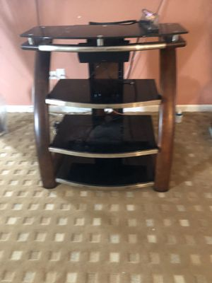 Glass and wood entertainment stand stainless tv for Sale in Plainfield, IL