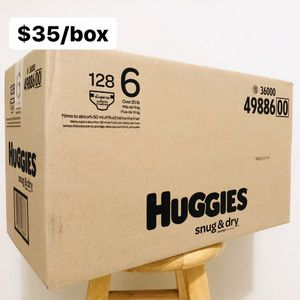 Size 6 (Over 35 lbs) Huggies Snug & Dry (128 diapers) - $35/box for Sale in Anaheim, CA