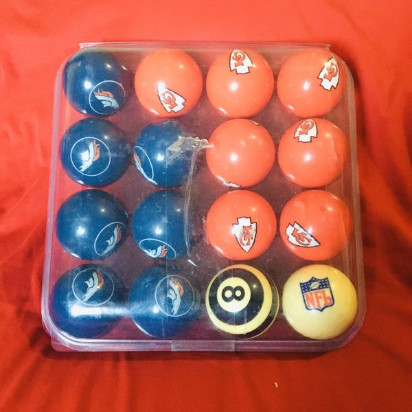 NFL Denver Broncos vs KC Chiefs pool ball billiard set