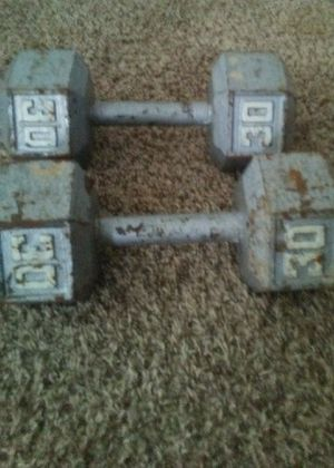 Two 30lb metal dumbbells for Sale in Greensburg, PA
