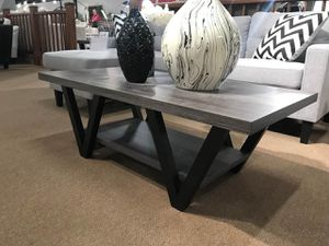 2-Piece Coffee Table and End Table, Distressed Grey and Black Color for Sale in Santa Ana, CA
