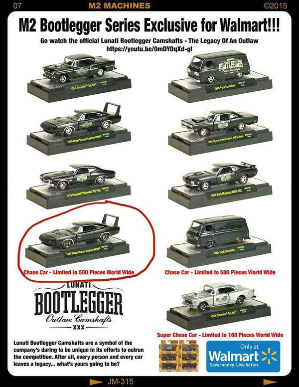 M2 Machines Walmart Lunatti Bootlegger 1969 Dodge Charger Daytona Chase