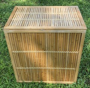 Like New Lattice Bamboo Laundry Hamper Basket Storage Container Side Table Nightstand With Removable Liner And Decorative Wood Slats for Sale in Chapel Hill, NC