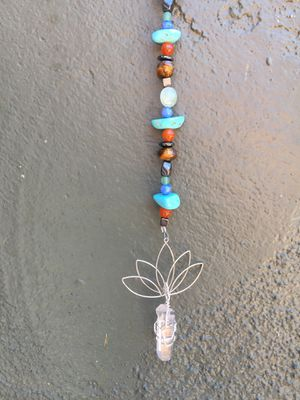 Handmade stone and lotus protection hanger. Use for car rear view mirror hanger, window hanger. for Sale in San Diego, CA