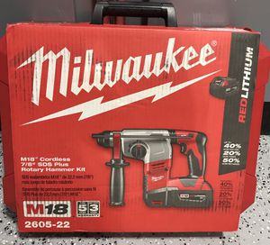 Milwaukee M18 18-Volt Lithium-Ion Cordless 7/8 in. SDS-Plus Rotary Hammer Kit W/(2) 3.0Ah Batteries, Charger, Hard Case for Sale in Lemont, IL