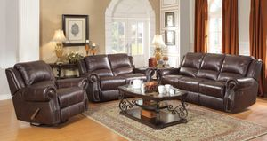Brown leather sofa three piece set from the Rawlinson collection for Sale in Boynton Beach, FL