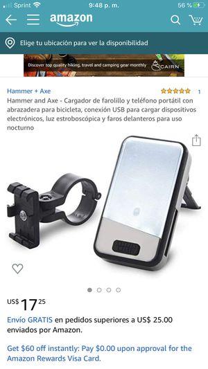 Hammer and Axe - Cargador de farolillo y teléfono portátil con abrazadera para bicicleta, conexión USB para cargar dispositivos electrónicos, luz est for Sale in Hayward, CA