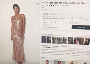 Rose gold sequin backless maxi dress for Sale in Austin, TX