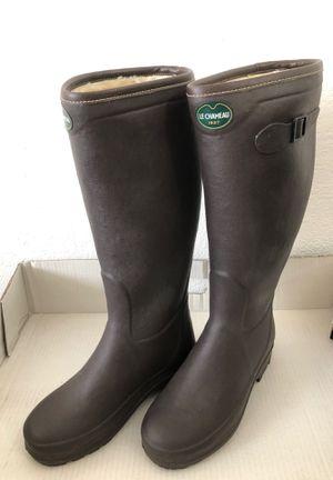 LE CHAMEAU Iris Faux Fur Rain Boots Women Size 39 for Sale in Los Angeles, CA