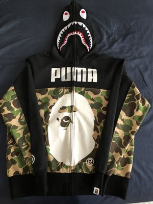 *RARE* Bape x Puma Collab Full Zip Up Shark Hoodie for Sale in Cuyahoga Falls, OH