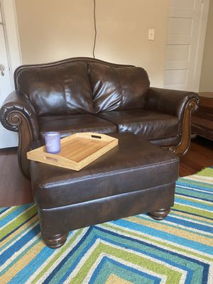 Brown leather couch, love seat, chair, futon for Sale in Norfolk, VA