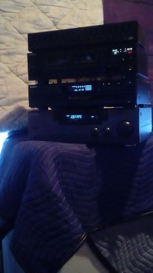 House stereo system kenwood receiver Sony 5 disc CD player and a Sony cassette double tape and eq also six speakers in a mini sub Sharp brand for Sale in Stockton, CA