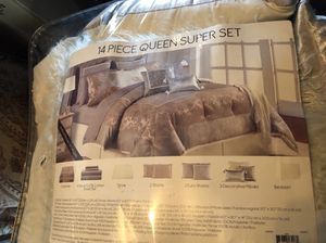 14 piece new queen set complete macys grey for Sale in Hialeah, FL