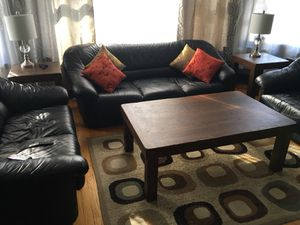 Hand crafted, hand scraped solid oak coffee table + side tables ( custom stain colors available) for Sale in Chicago, IL