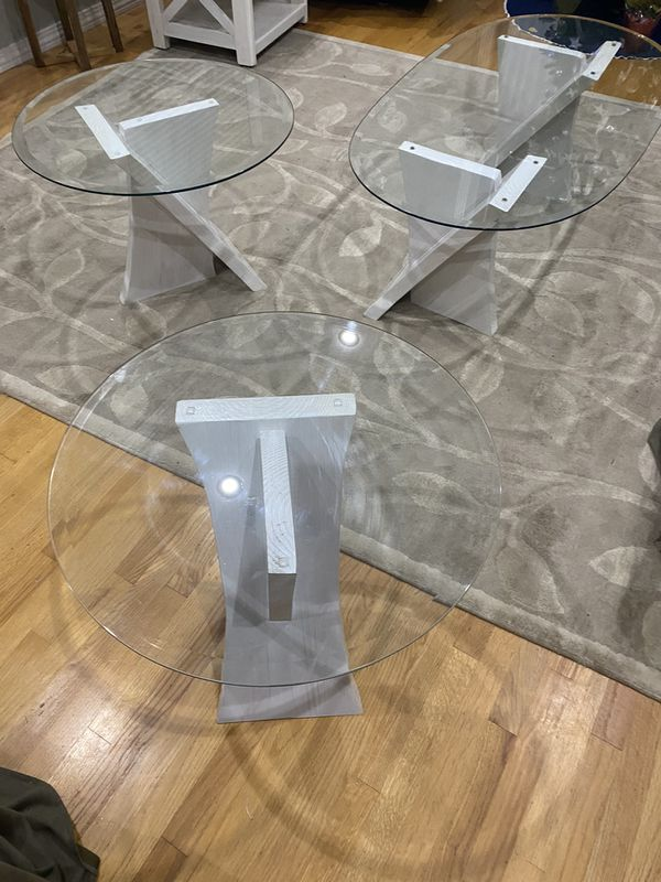 Wood/glass Coffe Table /Two Table Side /One Console Table $400 Homemade.