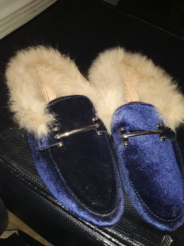 Blue suede with fur loafers