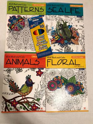 4 Kick Back & Color to Music adult coloring books for Sale in Albany, OR