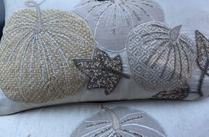 Fall pillow. Beaded leaves. Love the natural colors. Two for $40 for Sale in Doraville, GA