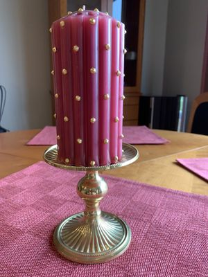 Andrea by Sadek Metal Pillar Candle Holder w Decorative Candle for Sale in Columbia, MO