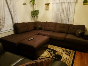Brand New Brown Linen Sectional Sofa Couch + Ottoman for Sale in Laurel, MD