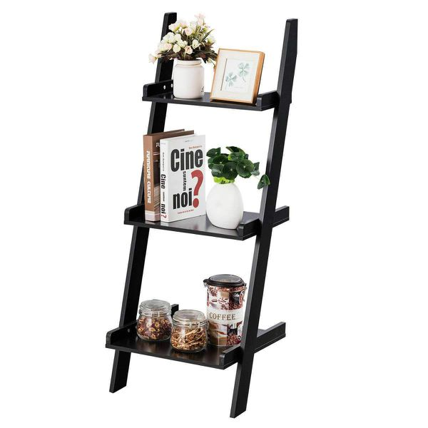 3 Tier Bookcase Leaning Rack Wall Ladder Book Shelf Home Display Multipurpose