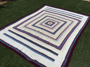 """Handmade Crochet Cotton Afghan Throw Blanket 60"""" X 60"""" Multi Color Blue Crochet Blanket for Sale in Las Vegas, NV"""