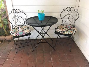 Small Black Metal Folding Bistro Set - Table & 2 Chairs (cushions Not included) for Sale in Flower Mound, TX