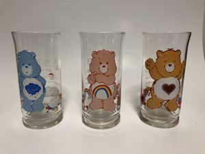 Lot of 3 Care Bears Vintage Glasses Pizza Hut 1983 Grumpy Cheer Tenderheart Cups for Sale in Pensacola, FL