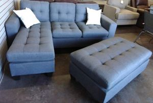 Brand New Grey Linen Sectional Sofa Couch + XL Ottoman for Sale in Rockville, MD