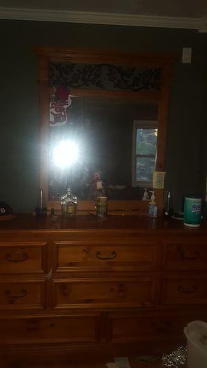 Oak mirror and dresser set. for Sale in Kingsley, MI