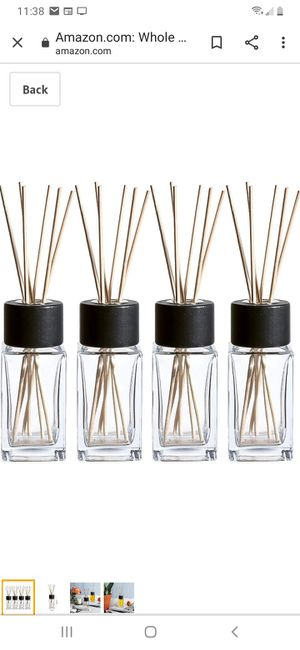 .Whole Housewares Clear Glass Diffuser Bottles with Natural Reed Sticks and Black Wood Caps (2X4.7 Inch) for Sale in Palmdale, CA