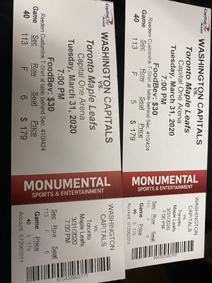Washington Capitals vs Toronto Maple Leafs 3/31/20 for Sale in Washington, DC