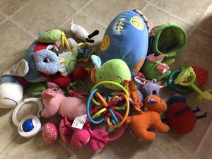 13 soft baby toys (including hanging toys for car seat) for Sale in New Albany, OH