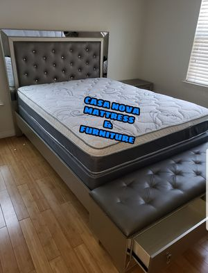BRAND NEW BED FRAME QUEEN COMES IN BOX WITH EURO PILLOW TOP MATTRESS AND BOX SPRING INCLUDED $499📢📢📢📢📢AVAILABLE FOR SAME DAY DELIVERY OR PICK UP for Sale in Compton, CA