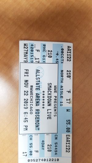 WWE smackdown live 11/22/19 ticket for Sale in Mundelein, IL