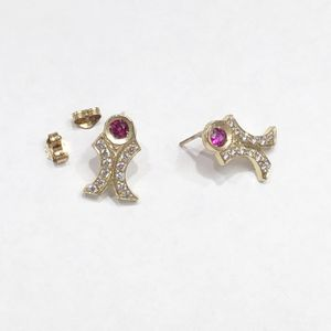 14K Yellow Gold Woman's Bow Earrings with approx 0.24cttw Diamonds and 0.20cttw Rubies **Great Buy** I-3017 for Sale in Tampa, FL