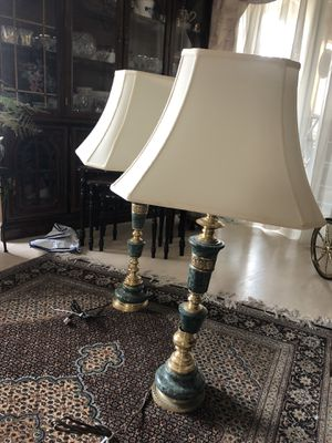 Two marble lamps with shade for Sale in Littleton, CO