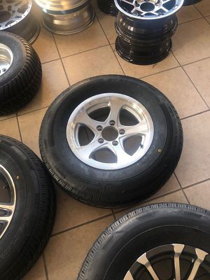 "Boat Trailer Tire - Aluminum Rims - Radial 205/75/14 - comes with center cap and lugs - 14"" 5 lug - We carry all trailer tires - trailer parts for Sale in Plant City, FL"