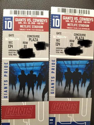 Giants Vs Cowboys FIELD LEVEL SEATS!!! for Sale in US