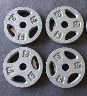 Set of Four 5 lb Weight Plates, 20 lb Total, New, 1 inch - FIRM for Sale in Waterford, CA