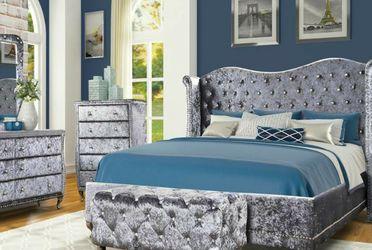 No Credit Needed Grey Velvet Queen Size 4 PC Bedroom Set for Sale in College Park,  MD