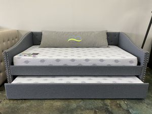 Blue gray daybed frame with nailhead trim and trundle for Sale in Charlotte, NC